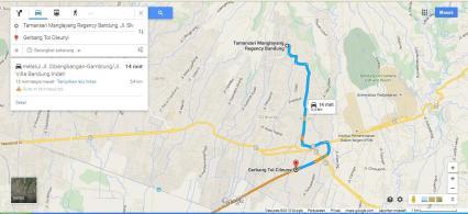 Rute dari pintu Gerbang Tol Cileunyi ke arah komplek Tamansari Manglayang Regency
